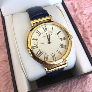 ANNE KLEIN Gold-Tone Watch with Navy Band